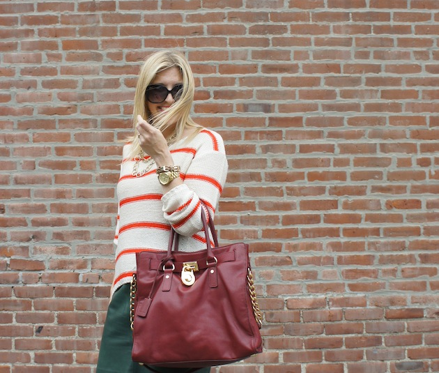 Kors burgundy hamilton, green leather skirt, orange stripe sweater