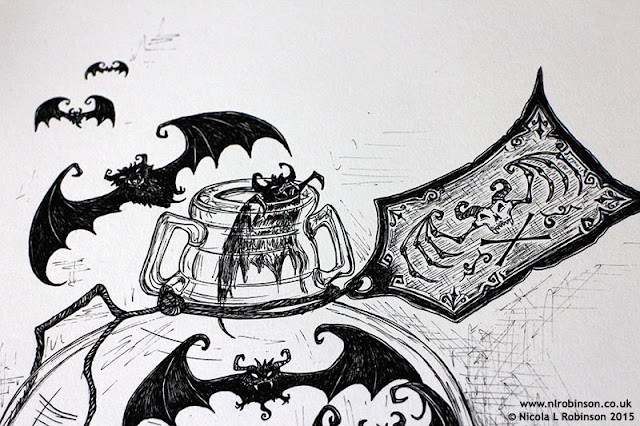 Bottle of inky bats illustration © Nicola L Robinson 2015 All Rights reserved www.nlrobinson.co.uk