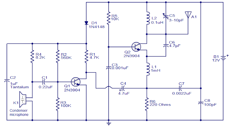200M FM Transmitter Simple Circuit