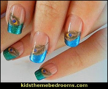FEATHER Nail Art Water Sticke Decals peacock