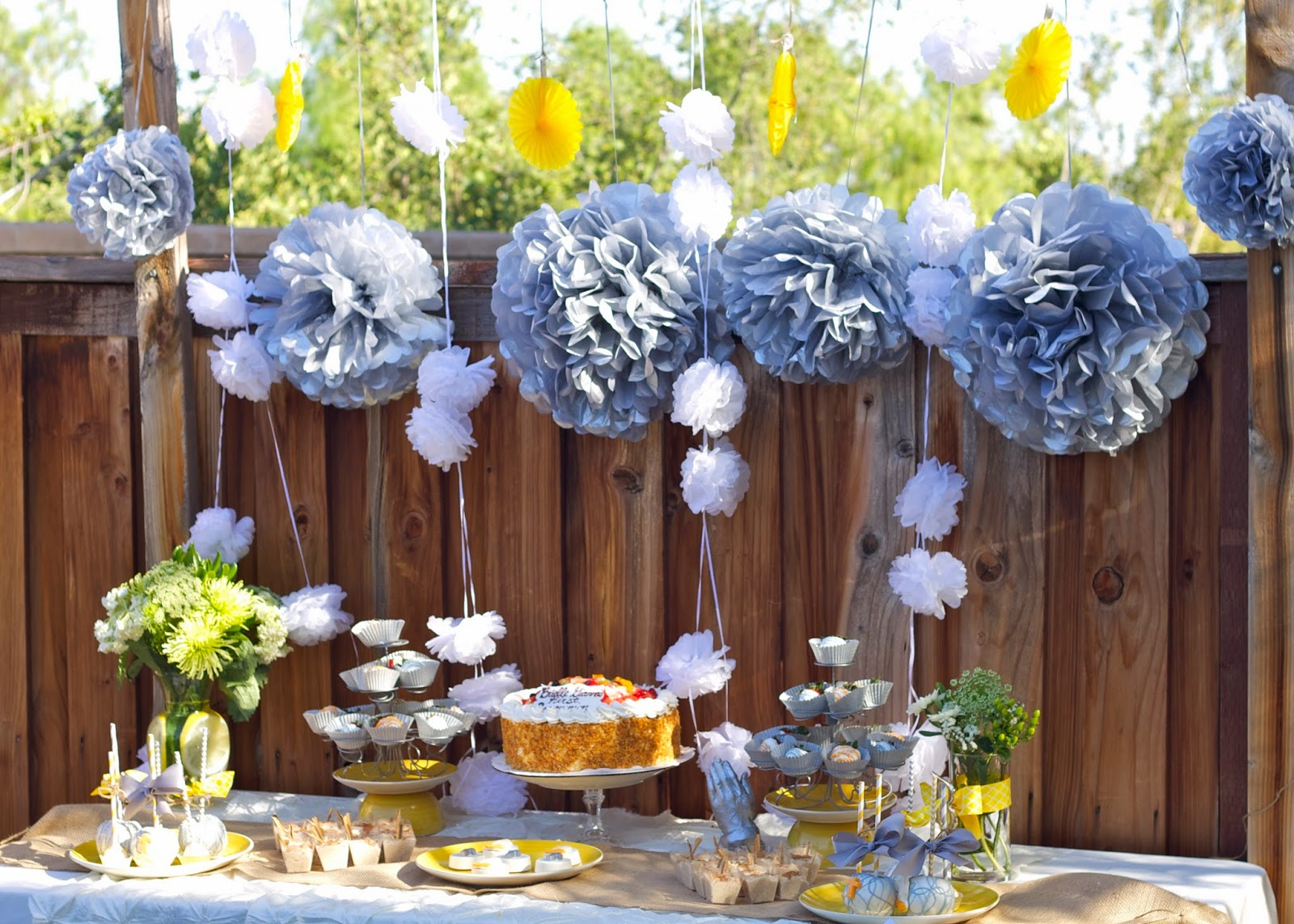 Yellow and Gray Dessert Table, Yellow and Gray decorated Dessert Table, Yellow and Gray CakeTable