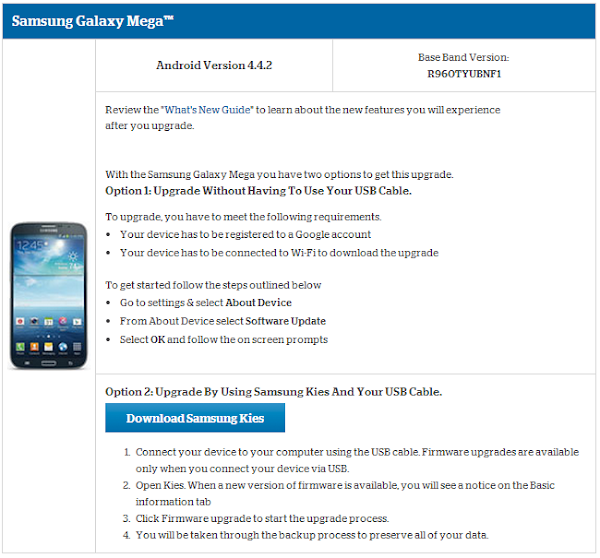 Samsung Galaxy Mega for US Cellular receives Android 4.4 KitKat