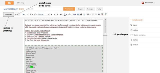Cara Membuat Scroll di Postingan Blog