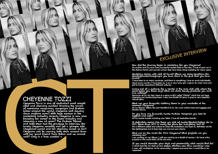 The Fashion Tunnel Interviewed The lovely Cheyenne Tozzi!