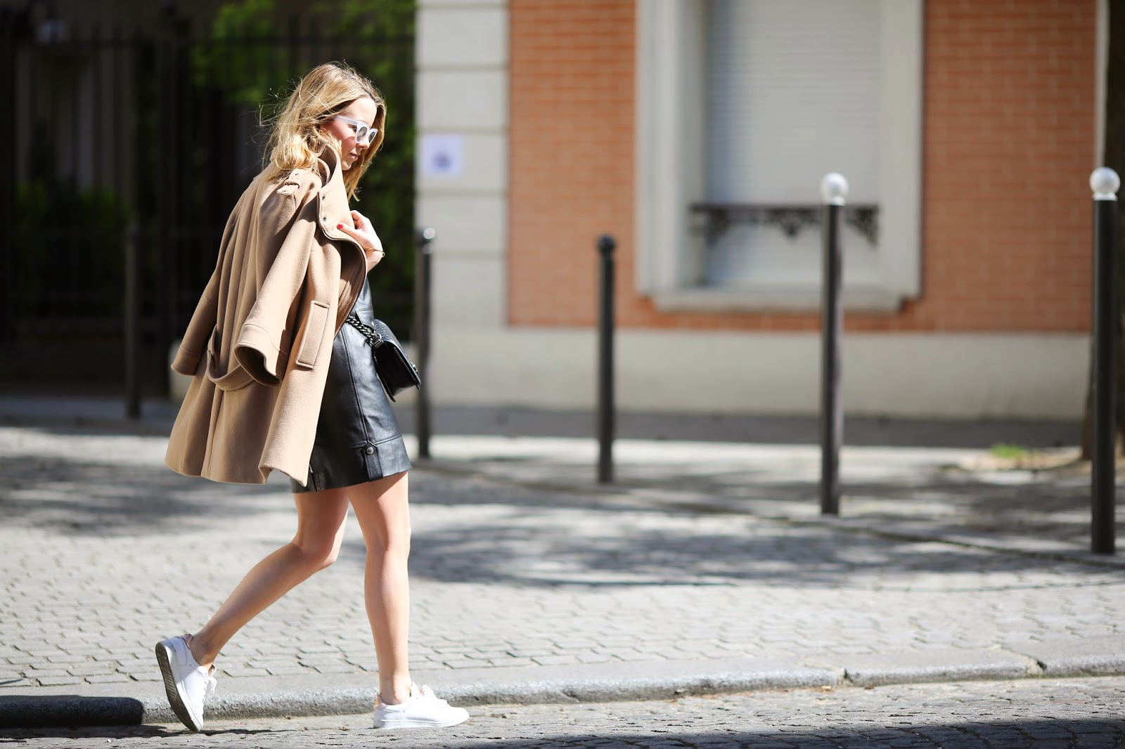 leather dress, zara, sacha shoes, chanel, monica vinader, streetstyle, paris, pardonmyobsession