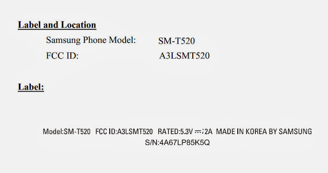 Samsung (SM-T520) new tablet shows on FCC