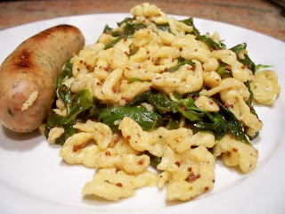 ... German Spaetzle with Sautéed Swiss Chard and Sage-Browned Butter