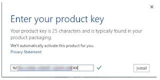 Masukan product key yang masih valid