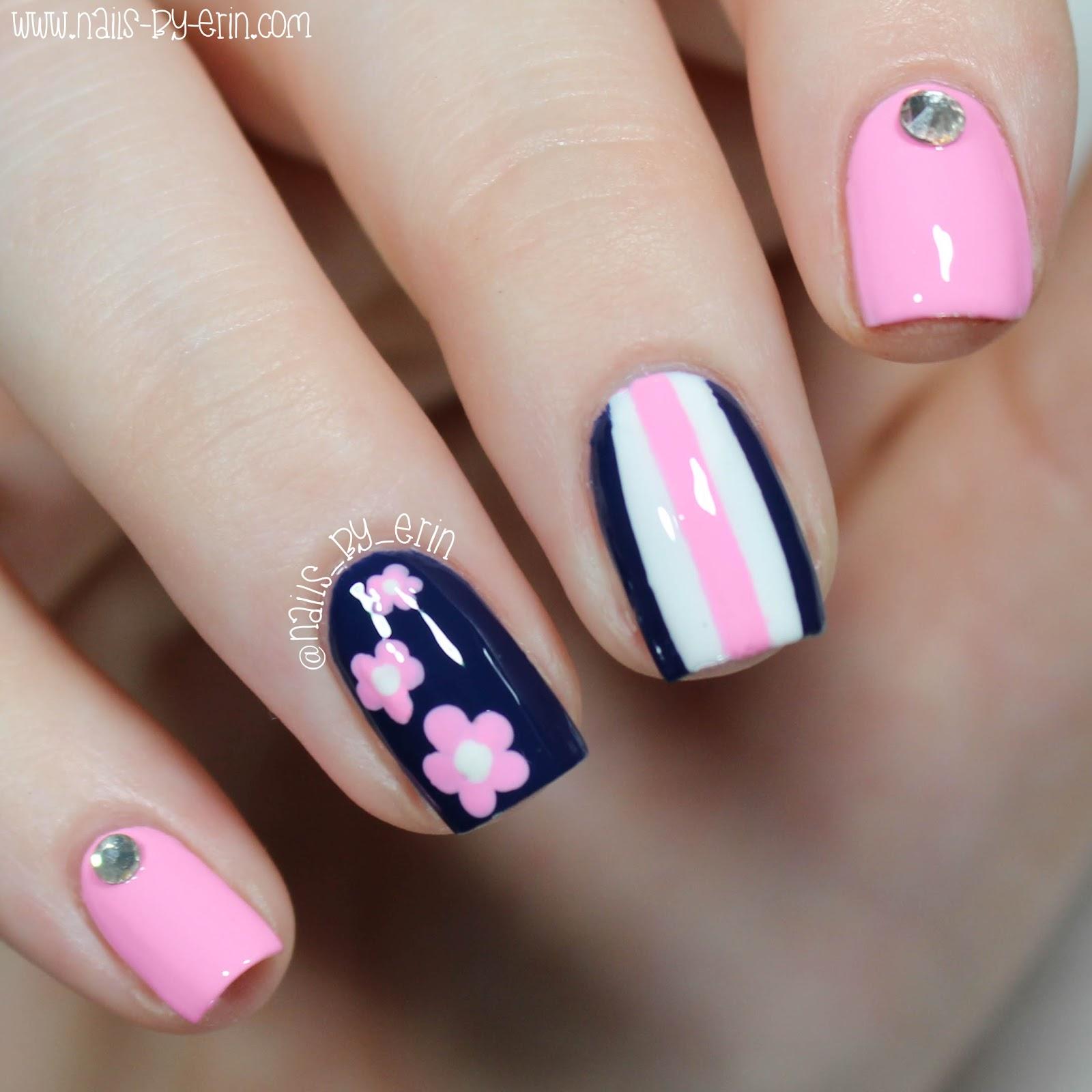 NailsByErin: Navy and Pink Mix & Match Nails   Daniel Wellington ...
