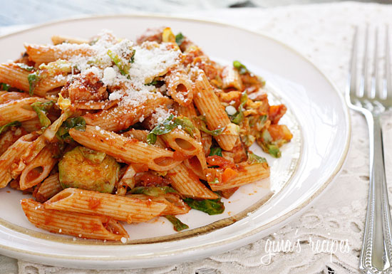 Autumn Penne Pasta with Sauteed Brussels Sprouts In A Light Ragu ...