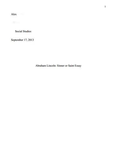 Abraham lincoln essays