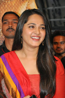 Actress Anushka Shetty Latest Pictures in Red Salwar Kameez at Rudramadevi Trailer Launch  16