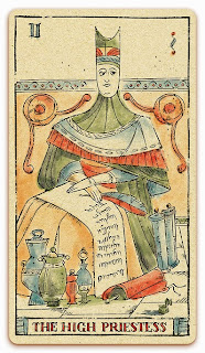 The High Priestess card - Colored illustration - In the spirit of the Marseille tarot - major arcana - design and illustration by Cesare Asaro - Curio & Co. (Curio and Co. OG - www.curioandco.com)
