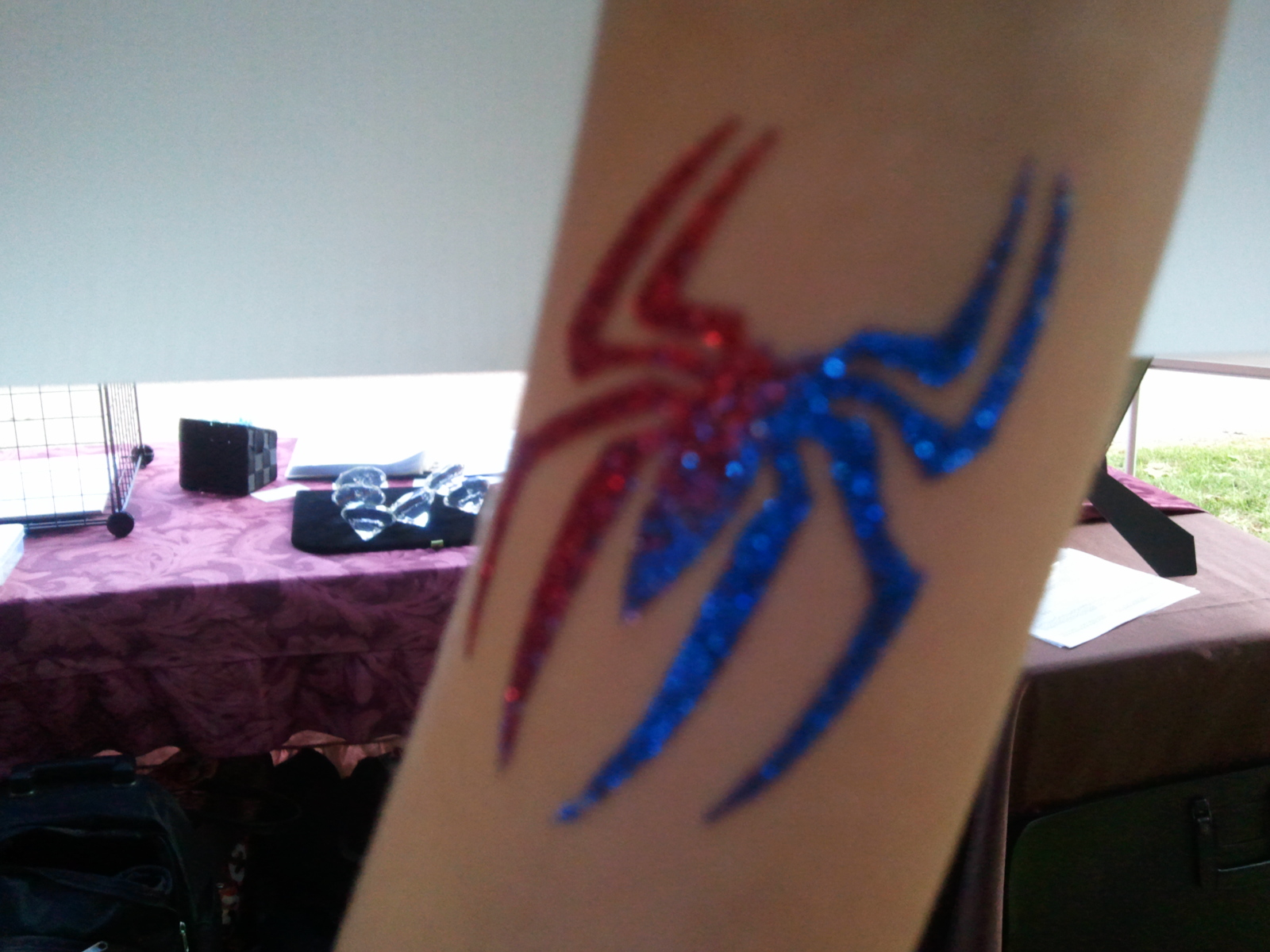 spiderman glitter tattoo