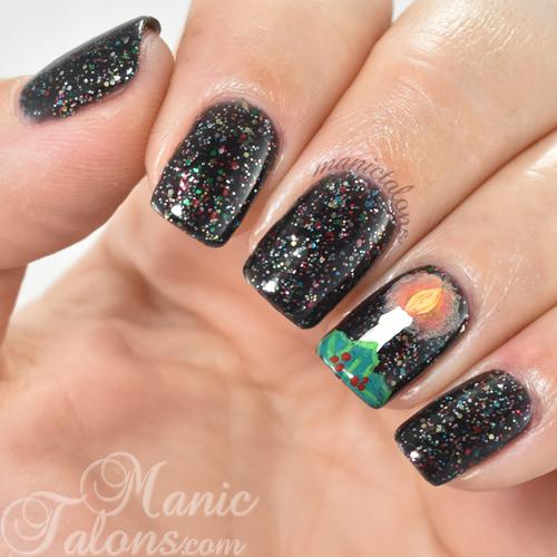Christmas Manicure Candle Nail Art