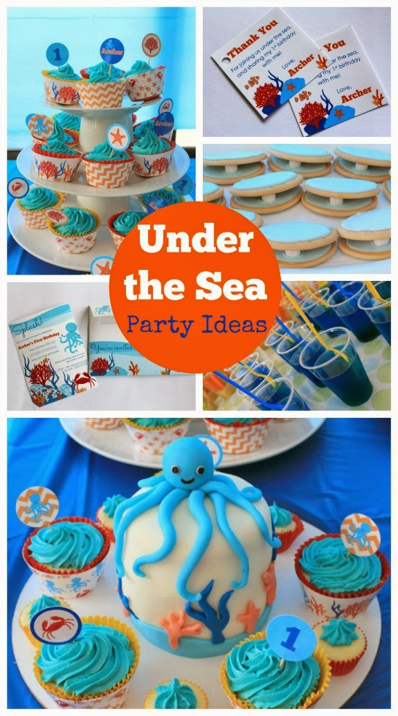 ocean under the sea birthday party ideas printable decorations invitation cupcake party food clam shells jelly birthday cake