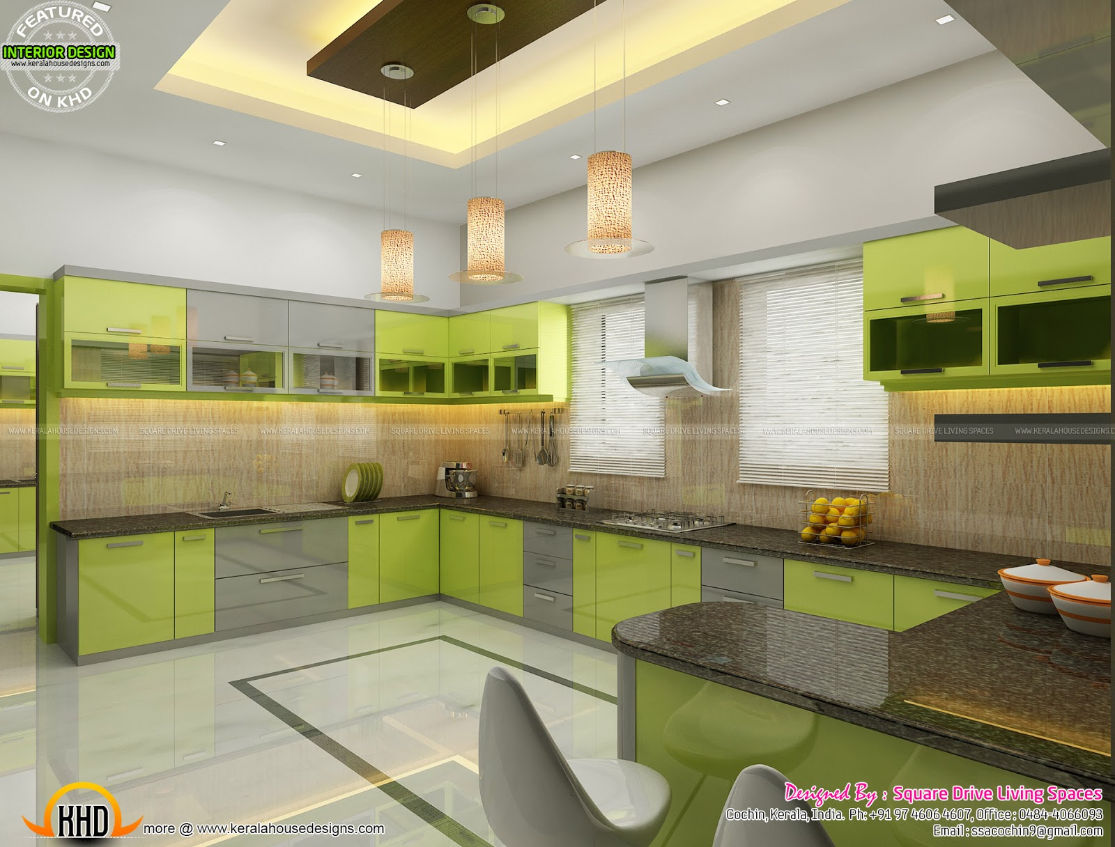 Green Kitchen, Bedroom, living inteiors
