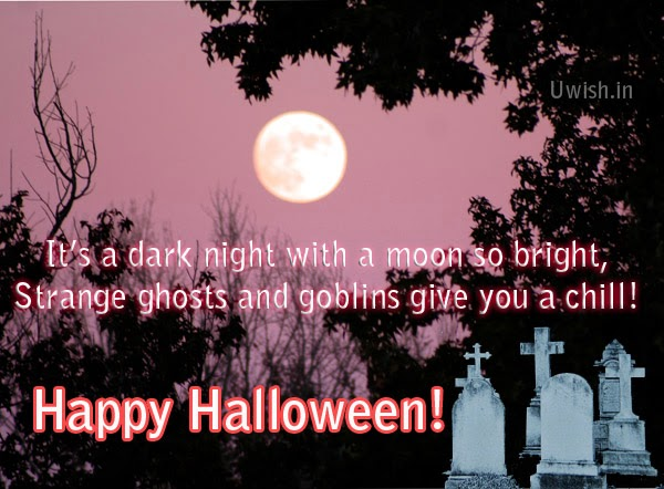 Happy Halloween e greeting cards and scary wishes with graveyard.