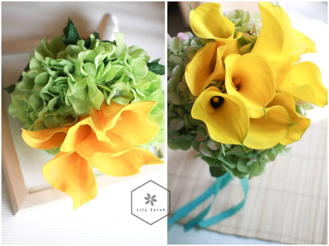 yellow calla lily silk flower and fresh flower bouquet