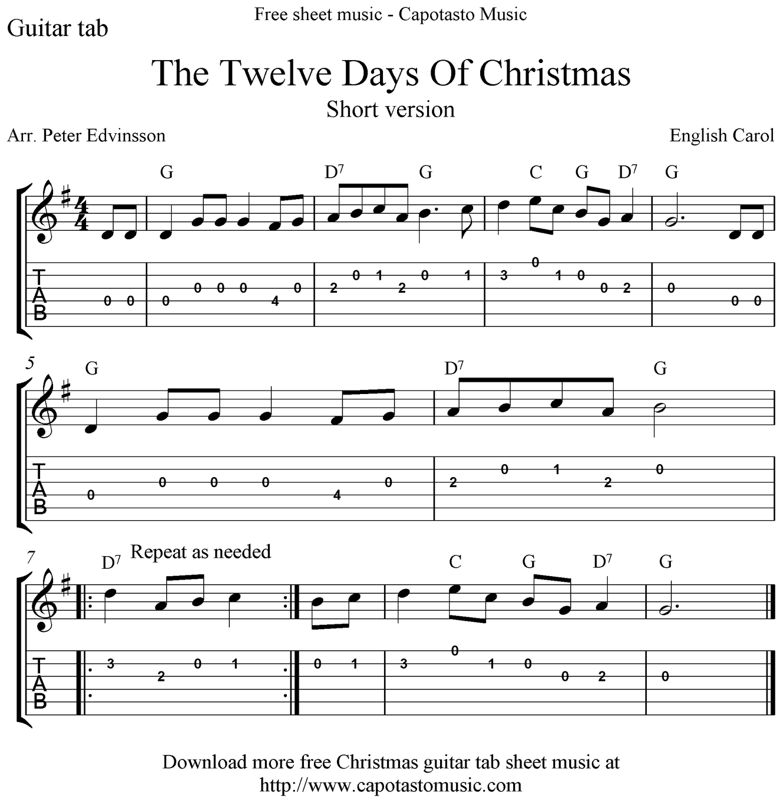 The Twelve Days Of Christmas, free guitar tablature sheet music