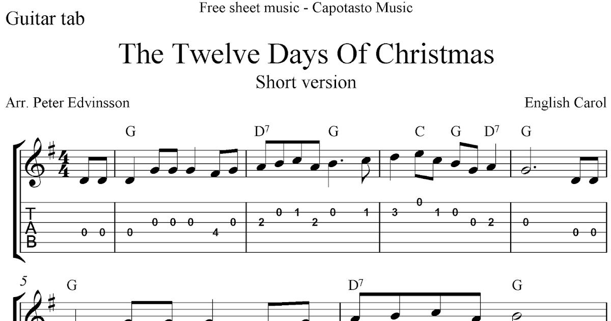 The Twelve Days Of Christmas, free guitar tablature sheet music