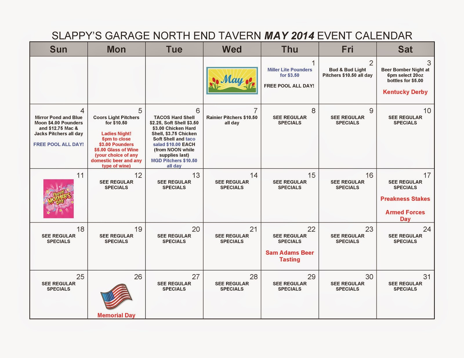 Calendar May Events : Slappy s garage north end tavern may events