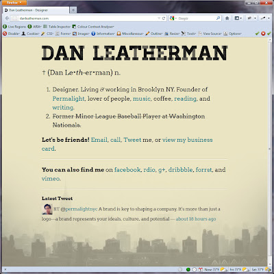 Screen shot of http://danleatherman.com/.