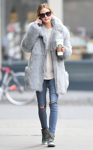 #oliviapalermo, celebrity street style, celebrity wearing a fur coat