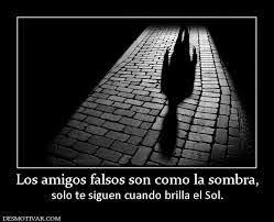 Los amigos falsos son como las sombras: sólo nos siguen cuando brilla el sol.