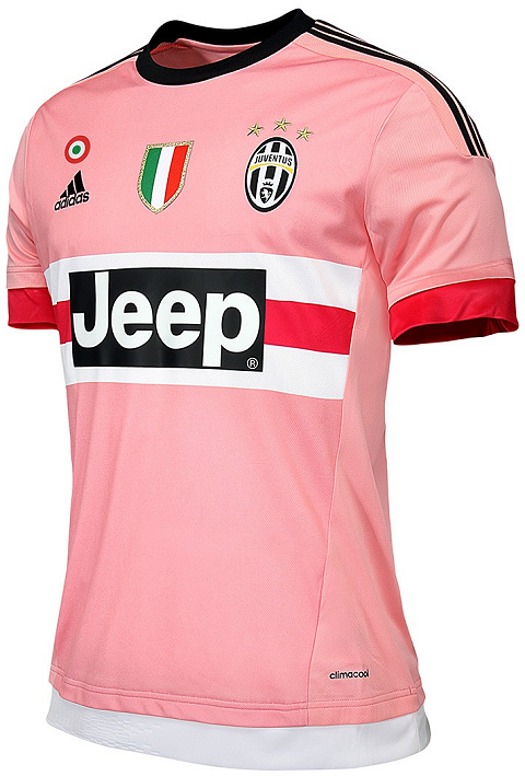 30925e45e The 3 stripes on the sleeves and the simple crew neck collar of the new  Adidas Juventus 2015-16 Away Jersey are black.