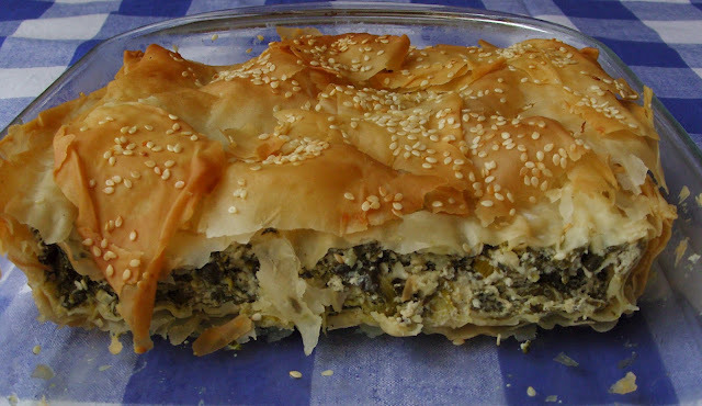 Spinach, ricotta, feta cheese filo pie
