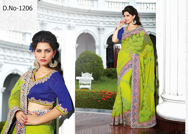 Bridal Sarees, Embroidery Designer Lace Work Lehenga Saree, Buy Designer Heavy Embroidered Saree