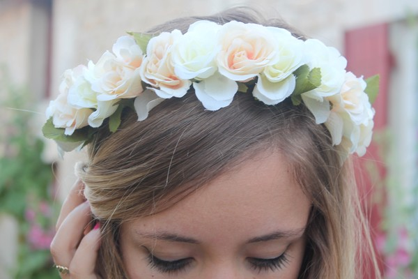 Headband couronne de fleurs blanc