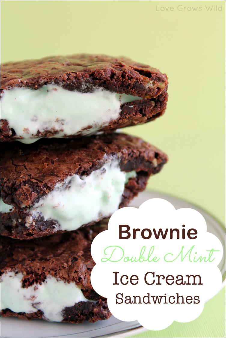 Brownie Double Mint Ice Cream Sandwiches www.lovegrowswild.com #recipe ...