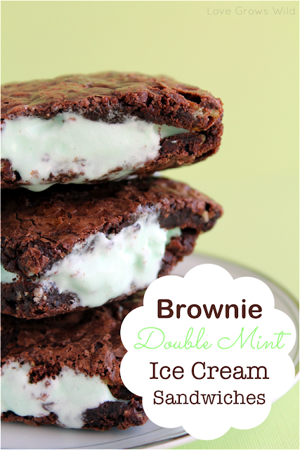 Brownie Double Mint Ice Cream Sandwiches www.lovegrowswild.com #recipe #brownie #mint