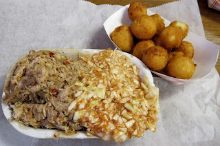 Lexington NC barbecue tray with hush puppies & BBQ slaw