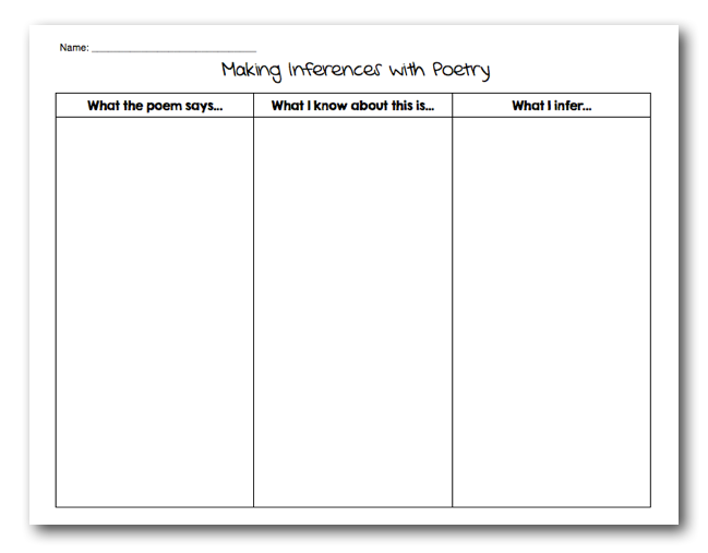 Upper Elementary Snapshots Making Inferences with Poetry – Making Inferences Worksheets