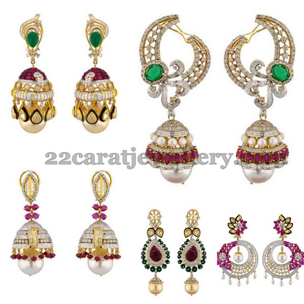 Polki Jhumkas with Pearls Rubies