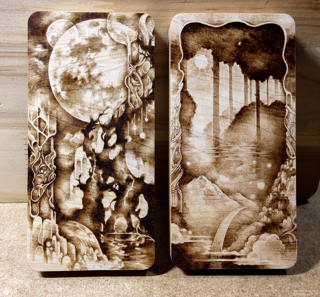 snowdeer kim sulrok moon garden maple pyrography woodburning. Black Bedroom Furniture Sets. Home Design Ideas