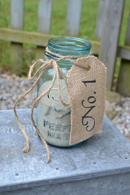 Mason Jar Wedding Ideas - Table Numbers Burlap Cloth Tag