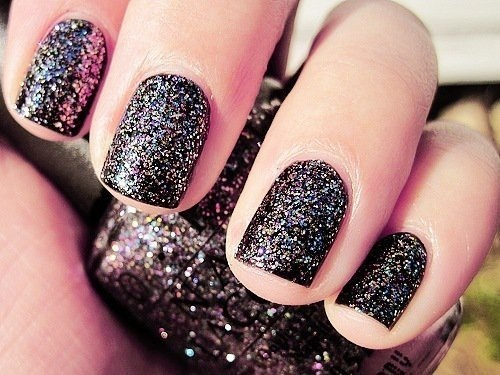 Little Girl Black Design Glitter Nail Art Nail Polish