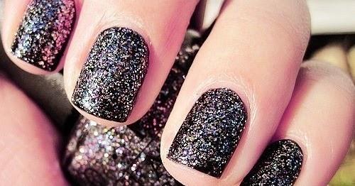 Little Girl: black, design, glitter, nail art, nail polish