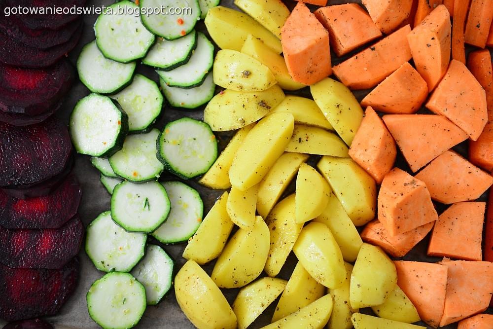 pieczone warzywa na blache w słupki
