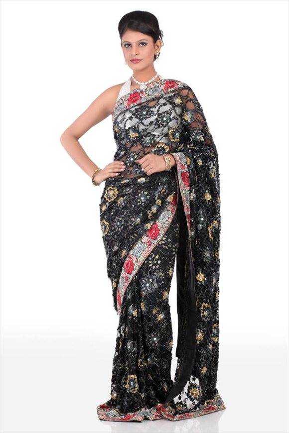 hot Black Net Saree