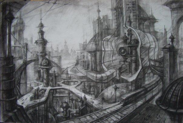 """Futuristic Architecture Drawing Fragment of """"futuristic"""""""