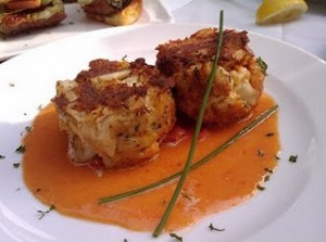 Maryland Crusted Crab Cakes with Sweet Pepper Sauce