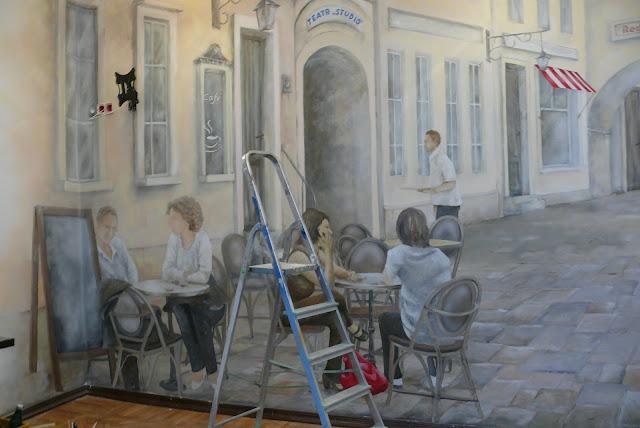 Malerei ein Bild an der Wand, Malerei, Warszawa, aranżacja klubu.