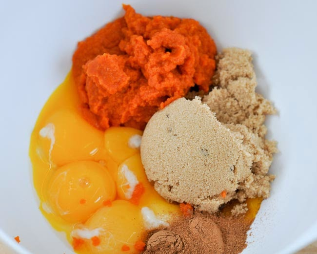 ... , whisk together 6 egg yolks, pumpkin puree, spices and brown sugar