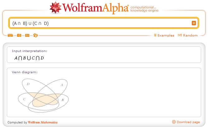 http://www.wolframalpha.com/input/?i=+%28A+%E2%8B%82++B%29+%E2%8B%83+%28C+%E2%8B%82++D%29