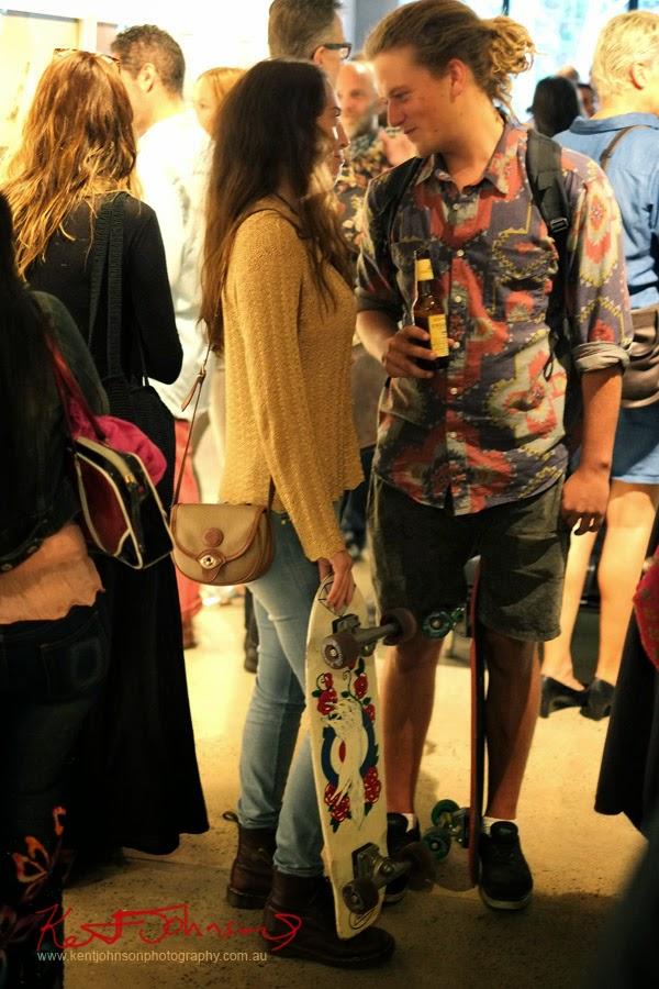 Skater couple, art opening Sydney.